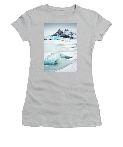 Women's T-Shirt (Junior Cut) featuring the photograph Fjallsarlon Glacier Lagoon Iceland In Winter by Matthias Hauser