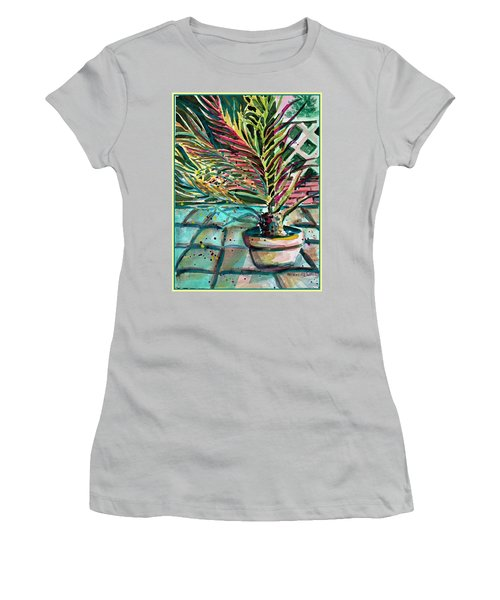 Women's T-Shirt (Junior Cut) featuring the painting Florescent Palm by Mindy Newman