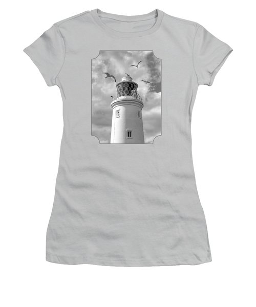 Fly Past - Seagulls Round Southwold Lighthouse In Black And White Women's T-Shirt (Junior Cut) by Gill Billington