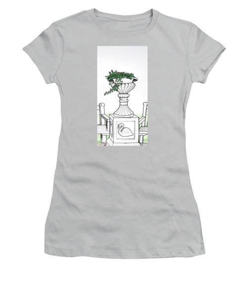 Women's T-Shirt (Junior Cut) featuring the drawing Foliage Fountain by Mary Ellen Frazee