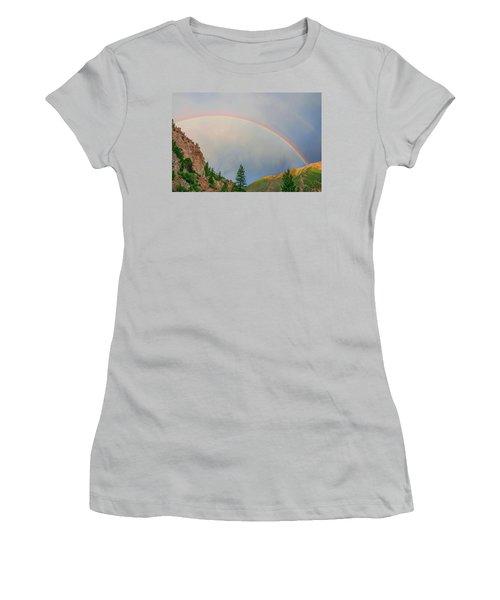 Follow The Rainbow To The Majestic Rockies Of Colorado.  Women's T-Shirt (Junior Cut) by Bijan Pirnia