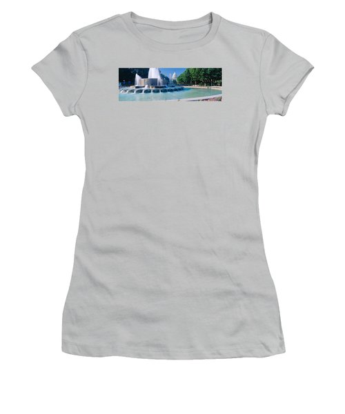 Fountain And Us Capitol Building Women's T-Shirt (Junior Cut) by Panoramic Images