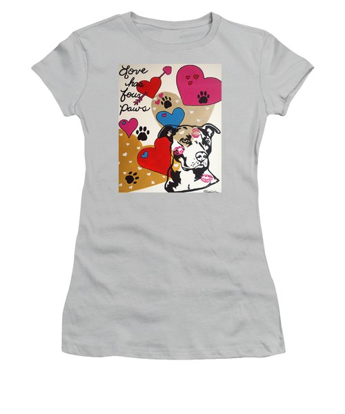 Four Pitty Paws Women's T-Shirt (Junior Cut) by Melissa Goodrich