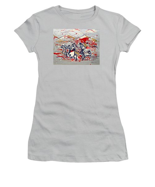 Women's T-Shirt (Junior Cut) featuring the painting Freedom On The Open Range by J R Seymour