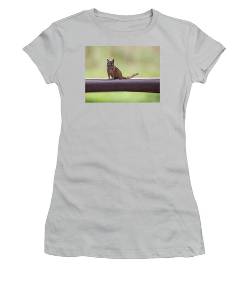 Women's T-Shirt (Athletic Fit) featuring the photograph Friendly Chipmunk by Fran Riley