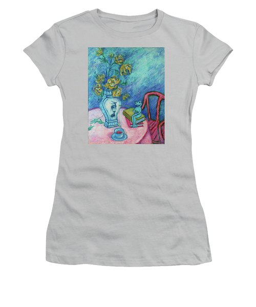 Women's T-Shirt (Athletic Fit) featuring the painting Frog Fishing Under Chrysanthemums by Xueling Zou