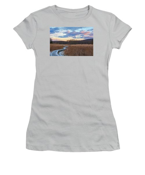 Frosty Blue Trail Women's T-Shirt (Athletic Fit)