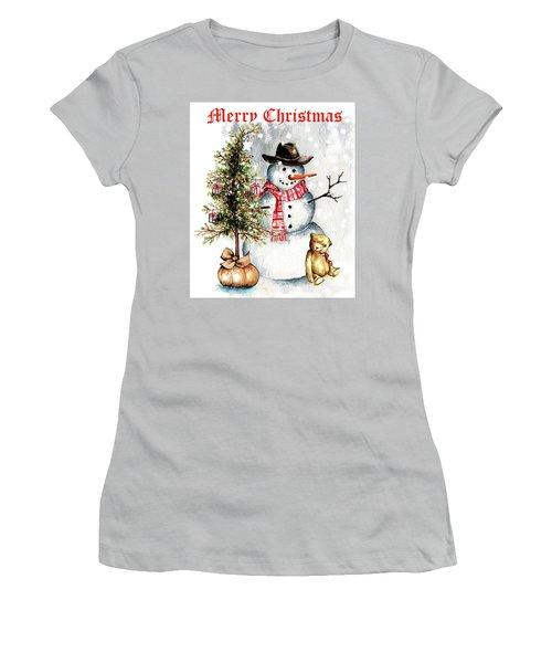 Frosty The Snowman Greeting Card Women's T-Shirt (Junior Cut) by Heidi Kriel