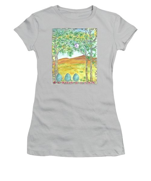 Women's T-Shirt (Junior Cut) featuring the drawing Full Moon And Robin Eggs by Cathie Richardson