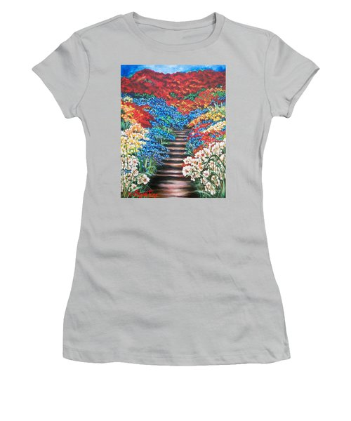 Women's T-Shirt (Junior Cut) featuring the painting Garden Cascade by Sigrid Tune
