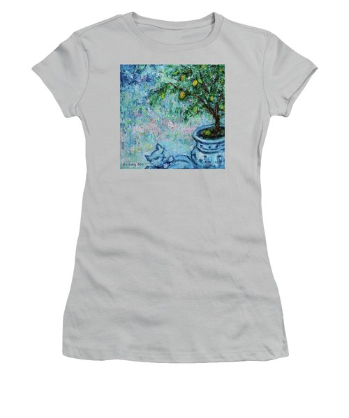 Women's T-Shirt (Athletic Fit) featuring the painting Garden Sleeping Cat by Xueling Zou