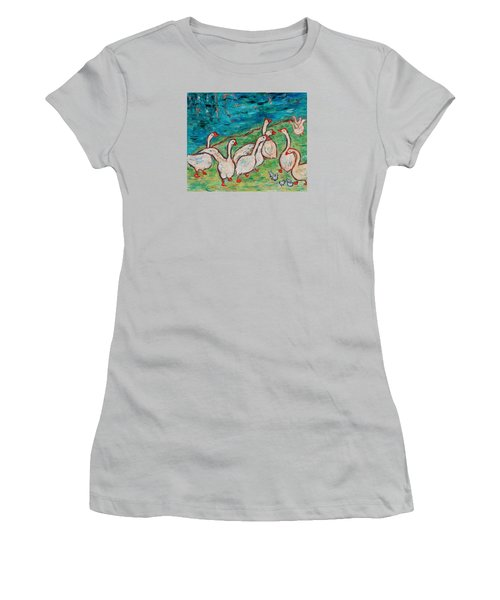 Women's T-Shirt (Athletic Fit) featuring the painting Geese By The Pond by Xueling Zou