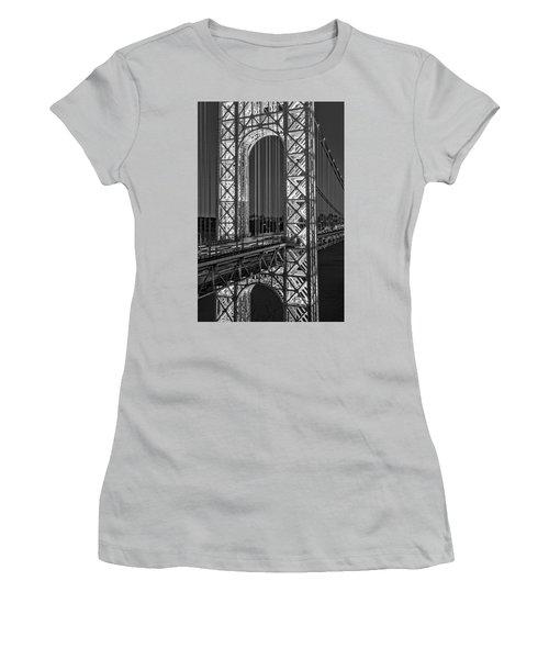 Women's T-Shirt (Athletic Fit) featuring the photograph George Washington Bridge Gwb Bw by Susan Candelario