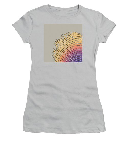 Giant Iridescent Fingerprint On Beige Women's T-Shirt (Junior Cut) by Serge Averbukh