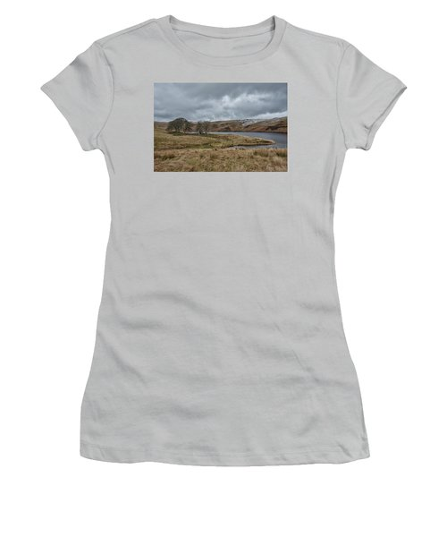 Women's T-Shirt (Athletic Fit) featuring the photograph Glendevon Reservoir In Scotland by Jeremy Lavender Photography