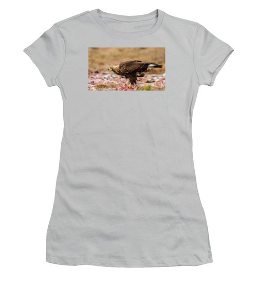 Women's T-Shirt (Junior Cut) featuring the photograph Golden Eagle's Profile by Torbjorn Swenelius