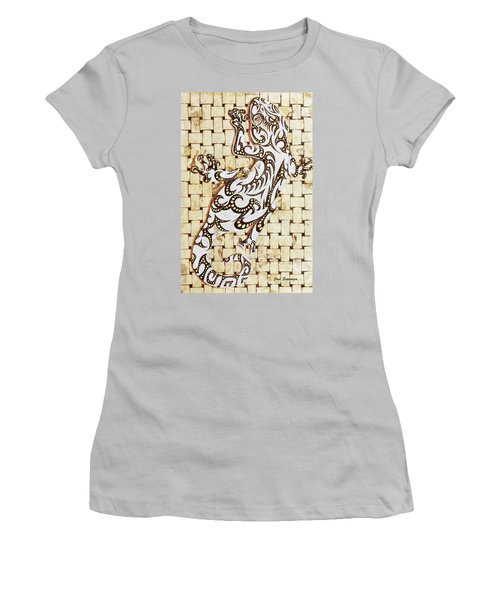 Women's T-Shirt (Junior Cut) featuring the painting Golden Gecko by J- J- Espinoza