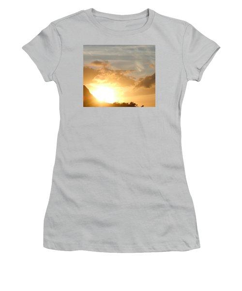 Golden Oahu Sunset Women's T-Shirt (Junior Cut) by Karen J Shine