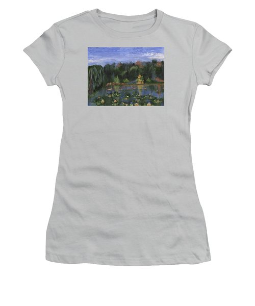Women's T-Shirt (Athletic Fit) featuring the painting Golden Pagoda by Jamie Frier