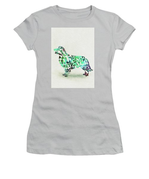 Women's T-Shirt (Athletic Fit) featuring the painting Golden Retriever Dog Watercolor Painting / Typographic Art by Ayse and Deniz