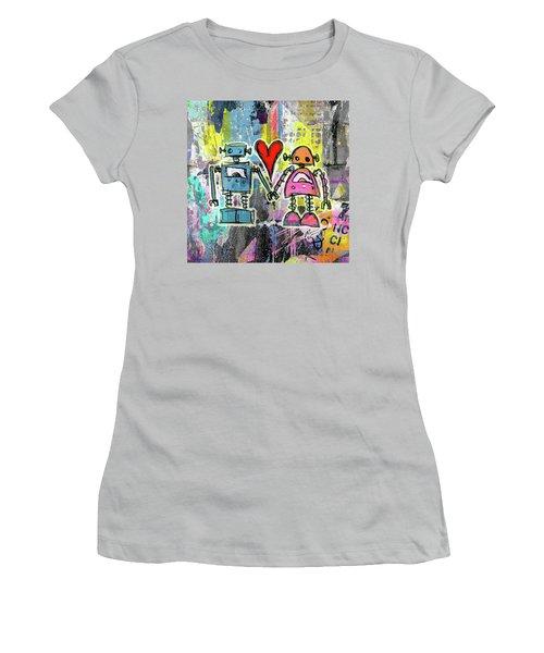 Graffiti Pop Robot Love Women's T-Shirt (Junior Cut) by Roseanne Jones