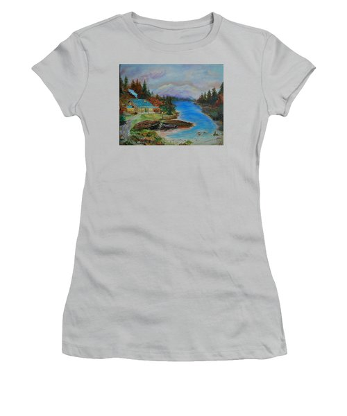 Women's T-Shirt (Junior Cut) featuring the painting Grandmas Cabin by Leslie Allen