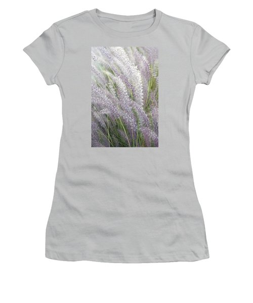 Women's T-Shirt (Junior Cut) featuring the photograph Grass Is More - Nature In Purple And Green by Ben and Raisa Gertsberg