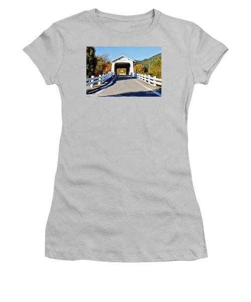 Grave Creek Covered Bridge 1 Women's T-Shirt (Junior Cut) by Ansel Price