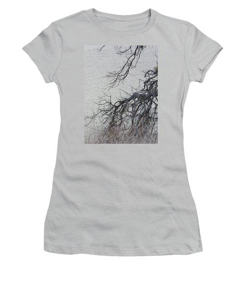 Gray Day At The Lake - Bare Branches Women's T-Shirt (Junior Cut) by Brooks Garten Hauschild