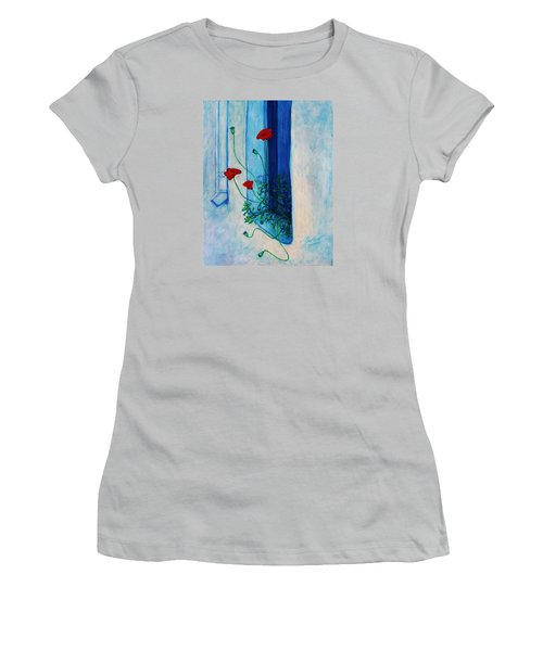 Women's T-Shirt (Athletic Fit) featuring the painting Greek Poppies by Xueling Zou
