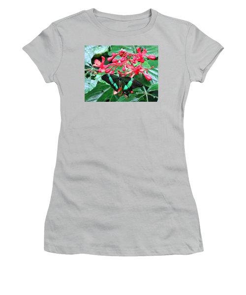 Green Moss Peacock Butterfly Women's T-Shirt (Junior Cut) by Betty Buller Whitehead