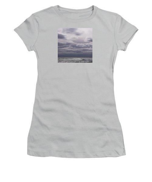 Women's T-Shirt (Junior Cut) featuring the photograph Grey Horizon by Adria Trail