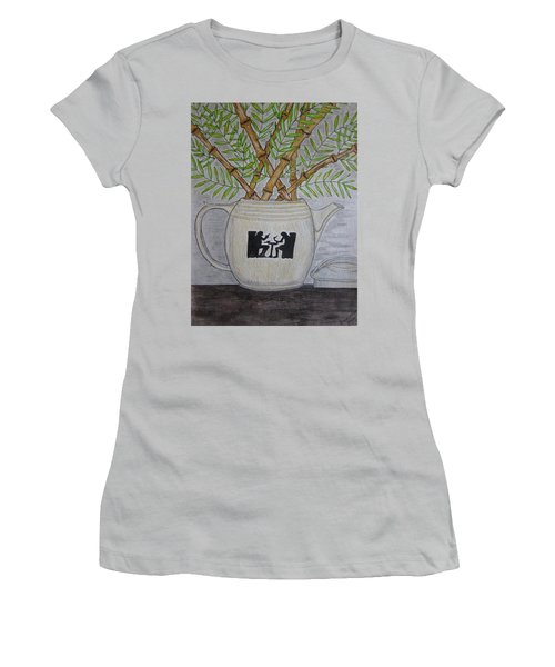 Hall China Silhouette Pitcher With Bamboo Women's T-Shirt (Junior Cut) by Kathy Marrs Chandler