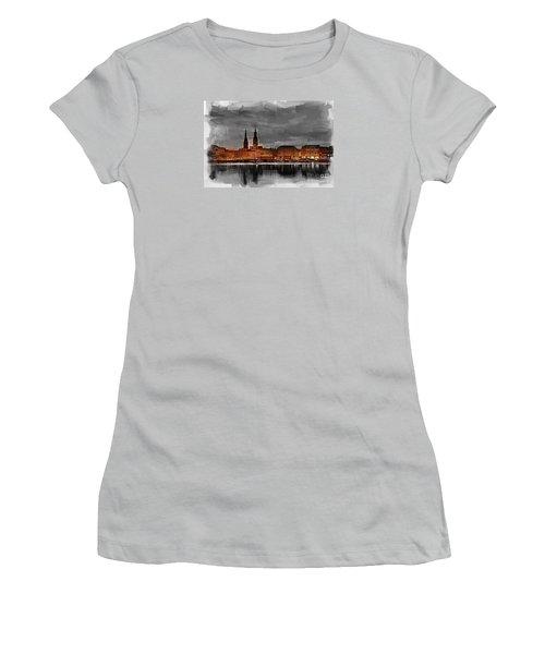 Hamburg Germany Skyline 01 Women's T-Shirt (Athletic Fit)