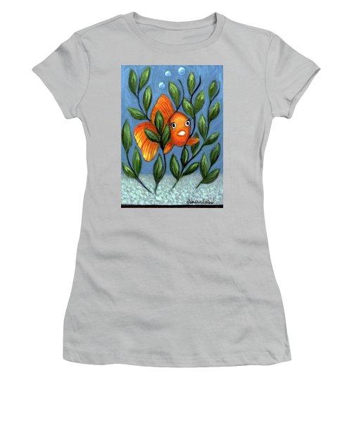 Women's T-Shirt (Junior Cut) featuring the painting Happy Goldfish by Sandra Estes