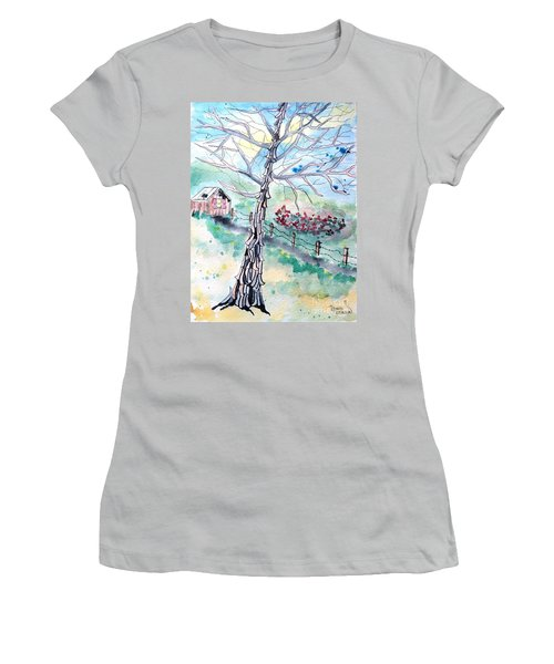 Women's T-Shirt (Athletic Fit) featuring the painting Hickory by Denise Tomasura