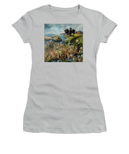 Hill Top Wildflowers Women's T-Shirt (Junior Cut) by Sharon Furner