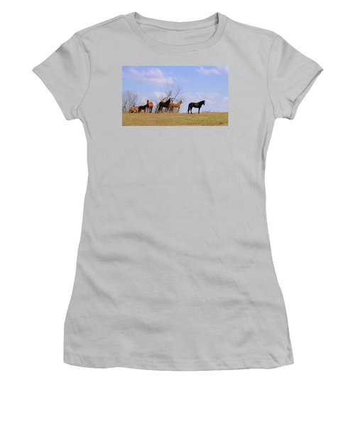 Women's T-Shirt (Junior Cut) featuring the photograph Horses On The Hill by Bonnie Willis
