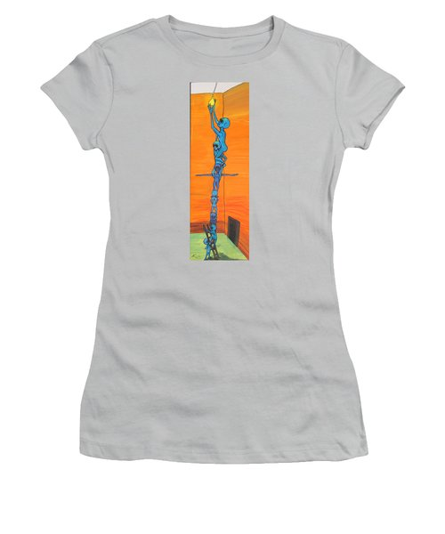 Women's T-Shirt (Junior Cut) featuring the painting How Many Aliens Does It Take To Screw In A Light Bulb?  Seven. by Similar Alien