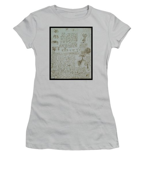 Women's T-Shirt (Junior Cut) featuring the painting Human Study Notes by James Christopher Hill