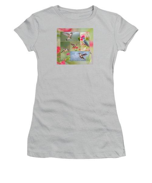 Hummingbird Collage Women's T-Shirt (Junior Cut) by Bonnie Barry