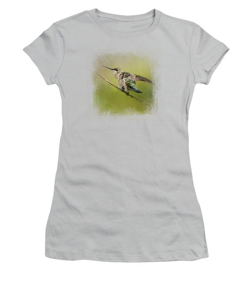 Hummingbird On Lime Women's T-Shirt (Athletic Fit)