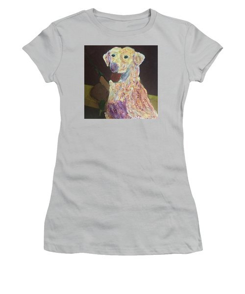 Women's T-Shirt (Athletic Fit) featuring the painting Hunting Dog by Donald J Ryker III