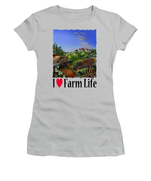 I Love Farm Life - Groundhog - Spring In Appalachia - Rural Farm Landscape Women's T-Shirt (Junior Cut) by Walt Curlee