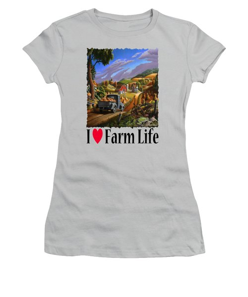I Love Farm Life - Taking Pumpkins To Market - Appalachian Farm Landscape Women's T-Shirt (Junior Cut) by Walt Curlee