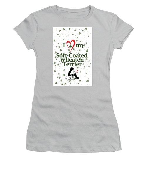 I Love My Wheaten Terrier Women's T-Shirt (Junior Cut) by Rebecca Cozart