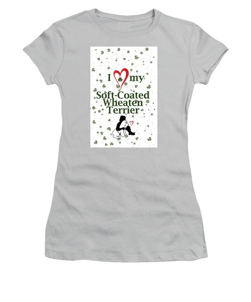 Women's T-Shirt (Athletic Fit) featuring the digital art I Love My Wheaten Terrier by Rebecca Cozart