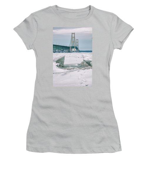 Women's T-Shirt (Junior Cut) featuring the photograph Icy Day Mackinac Bridge  by John McGraw