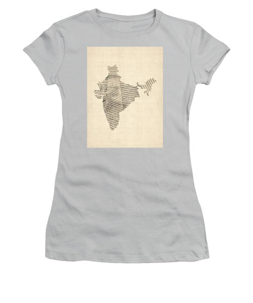 India Map, Old Sheet Music Map Of India Women's T-Shirt (Junior Cut) by Michael Tompsett