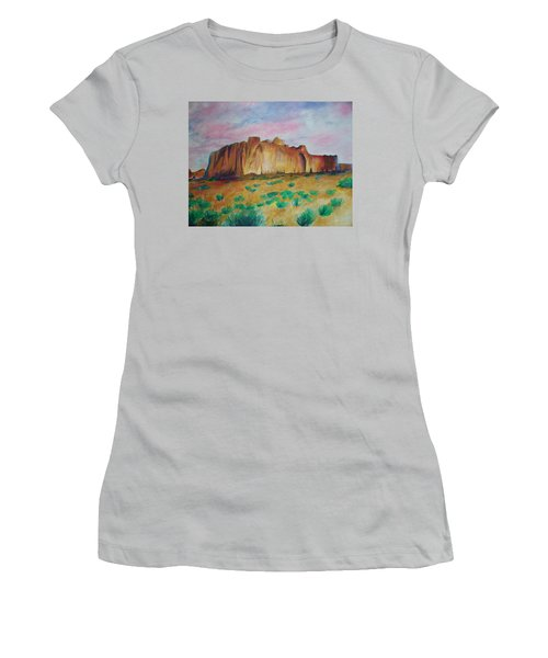 Women's T-Shirt (Junior Cut) featuring the painting Inscription Rock  by Eric  Schiabor